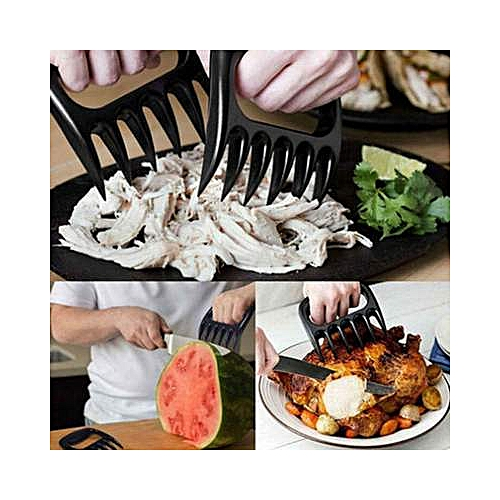 1Pair Black Grizzly Bear Paws Claws Meat Handler Fork Tongs
