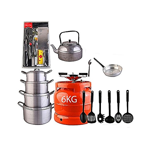 Economy Kitchen Bundle- 4 Set Pots, 1 Kettle, 1 Frying Pan, 1 Set Non-stick Frying Spoon, 1 Small Knife Set, 1 Set Of Table Spoon And 6kg Gas Cylinder