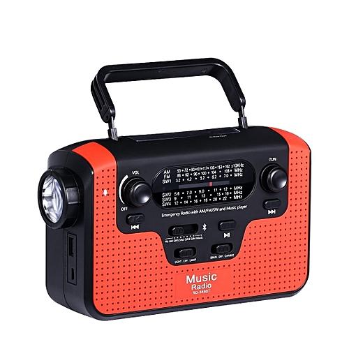 Solar Hand Crank Emergency AM/FM/SW/WB Radio(Red)
