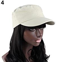 bb59a9bcaf8f Classic Women Men Adjustable Plain Vintage Army Military Cadet Style Cap Hat -Beige