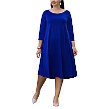 33780d4571c Clearlove Women Plus Size Scoop Neck 3 4 Sleeve Loose Fit Casual Swing Midi  Dress