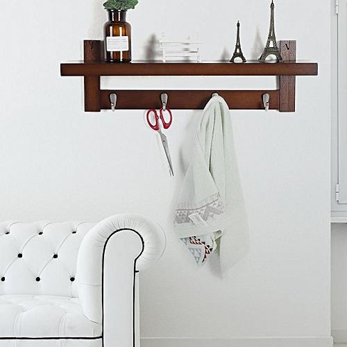 Wall Mounted Coat Hanger Storage Rack Hat Hanging Shelf Bedroom Hallway