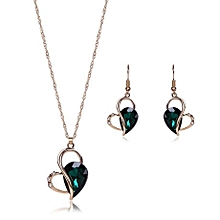 bc427e611 Jewelry Set Crystal Pendant Earring Necklace Jewelry-Green