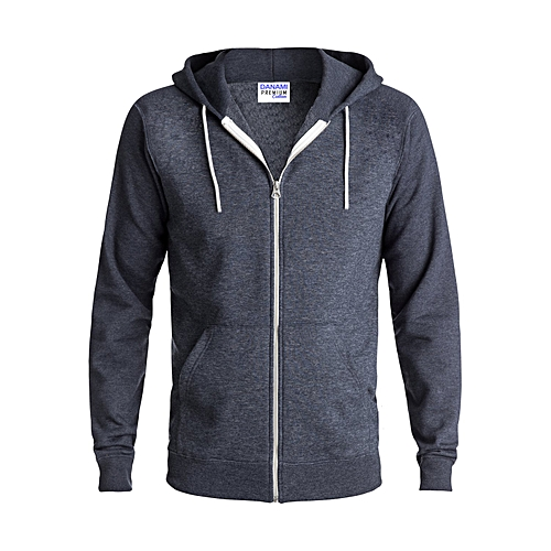 Plain Zipper Long Sleeve Hoodie - Dark Grey