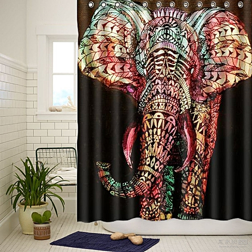 "Elephant Graffiti Waterproof Polyester Printed Shower Curtain 66""x72? W/12 Hooks"