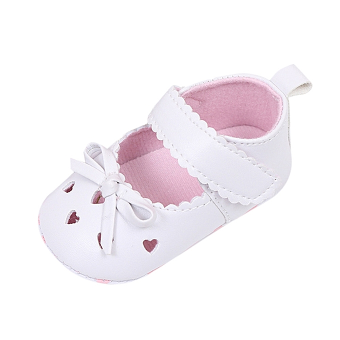 Newborn Infant Baby Girls Crib Shoes Soft Sole Anti-slip Sneakers Bowknot  Shoes- White 4fe5ba935