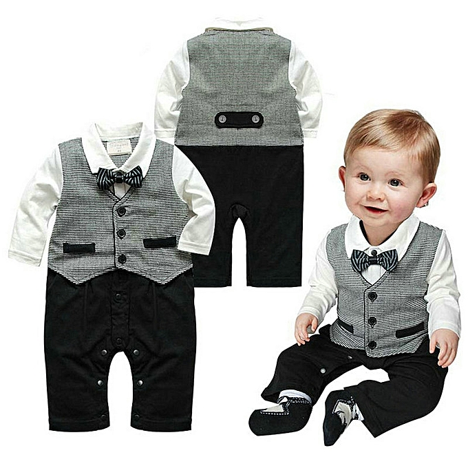 9be60f283109 Baby Boys Wedding Tuxedo Formal Dressy Party Suit One Piece Outfit Clothes  0-18M