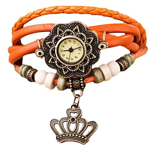 Technologg Watch Quartz Weave Around Leather Crown Bracelet Lady Woman Wrist Watch- Orange