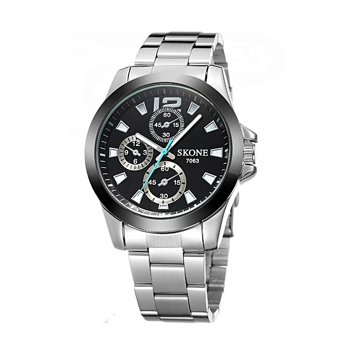 1fe60960529a Stainless Steel Black Face Chain Link Bracelet Wrist Watch For Men - Silver