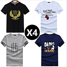 67c52a59078c 4 Pcs Shirts Men's Summer Fashion Cotton Short Sleeve Cartoon Printed  Young