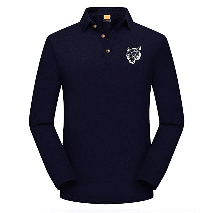 30f2d73a307016 Ranicken Fashion Men's Casual Slim Long Sleeve Embroidery T Shirt Polo Shirt  Top Blouse -Navy