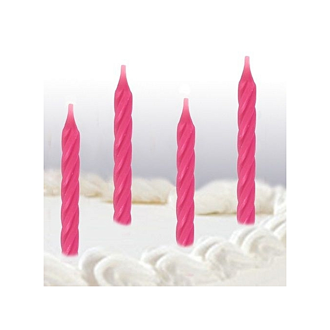Bright Pink Spiral Birthday Cake Candles 24 Per Pack