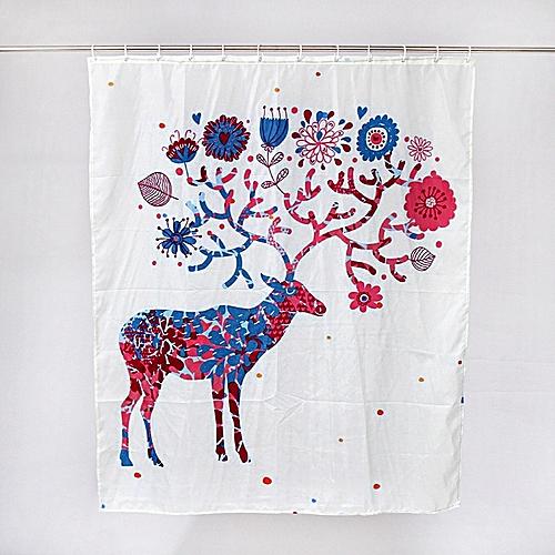 Dtrestocy Custom Merry Christmas Fabric Waterproof Bathroom Shower Curtain E
