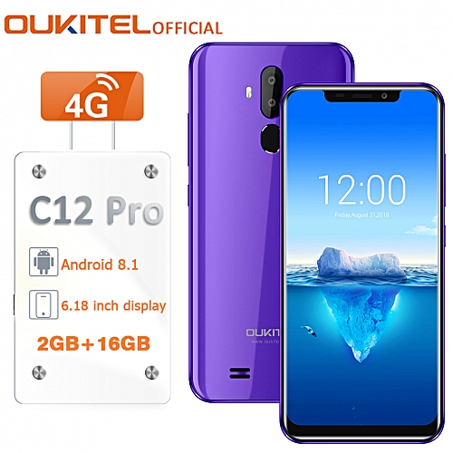 "C12 Pro 6.18"" (2GB RAM 16GB ROM),Android 8.1,(8MP + 2MP) + 5MP 4G Smartphone With Case EU - Purple"