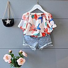 Latest Baby Girls 2018 New Style Fashion Flower Chiffon Kids Clothes Set