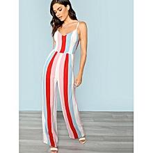 5f314c478d4 Bow Back Striped Jumpsuit - Multicolor