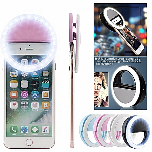 Selfie Fill Light LED Ring Camera Photography For SmartPhone-Pink
