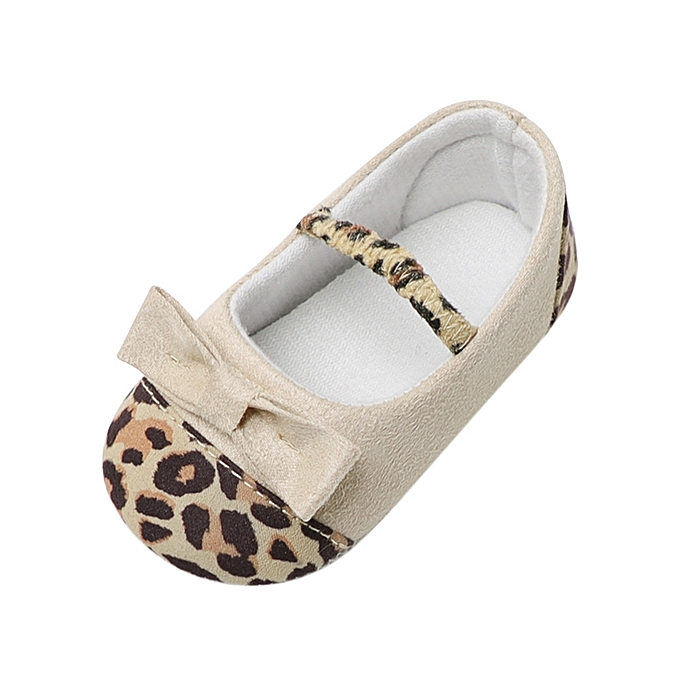 8bc9261ef11 Fantynes Kids Baby Shoes Toddler Infant Baby Girl Leopard Bow Crib Soft  Sole Anti-slip Single-Beige