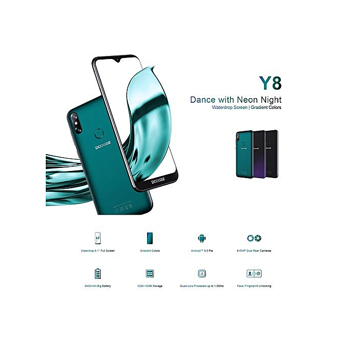 DOOGEE Y8, 3GB+16GB 6 1 Inch Water-drop Screen Android 9 0 Smartphone