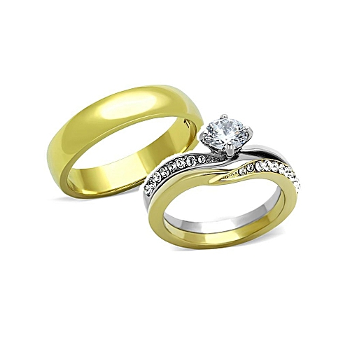 ACE Barbara Two Tone IP Gold Titanium Steel Wedding Ring Set (3 In 1)
