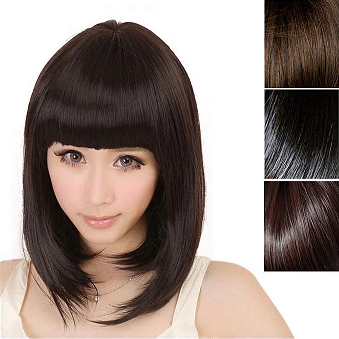 Fashion New Womens Ladies Short Straight Full Bangs BOBO Hair Cosplay Wig-Light  Brown cbd103179f