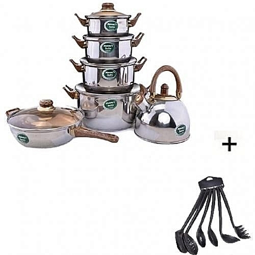 Set Of Kitchen Cookware Pot With Fry Pan And Kettle + Free Set Of 6 Pieces Non-Stick Cooking Spoons