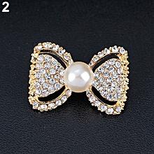 Bodhi@Lady Fashion Bowknot Shiny Rhinestone Imitation Pearl Scarf Dress Brooch Pin-Golden