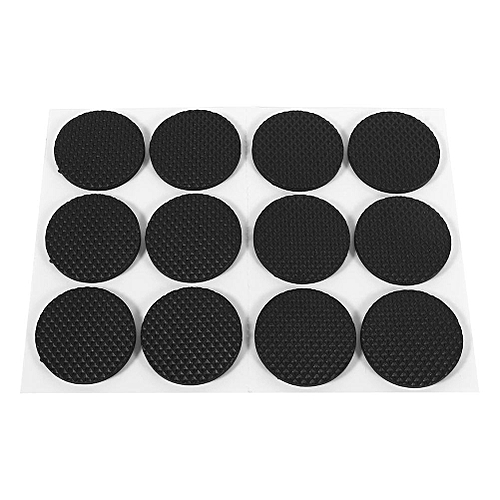 12Pcs Black Self Adhesive Floor Protectors Furniture Sofa Table Chair Rubber Feet Pad Round