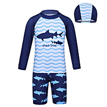 b5398ff752657 Boys Long Sleeves Shark Printed 3Pcs Swimwear Swimsuit Set