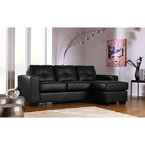 HET 3 BLACK SEATER LEATHER WITH OTTOMAN