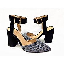 eff3eb7d257b Vivienne Ankle Strap Block Heel Pump - Black   Blue Prince Of Wales Check