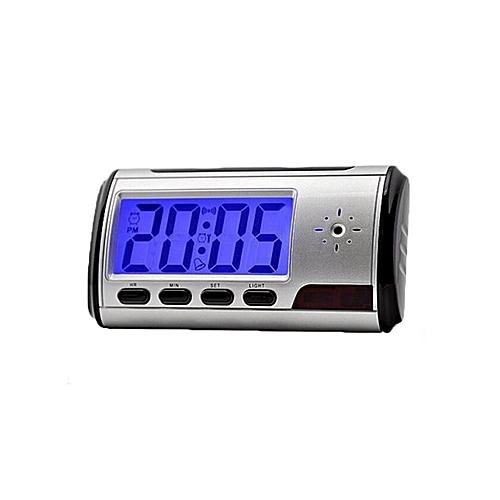 Hidden Camera Table Alarm Clock With Hidden Camera - Silver/Black