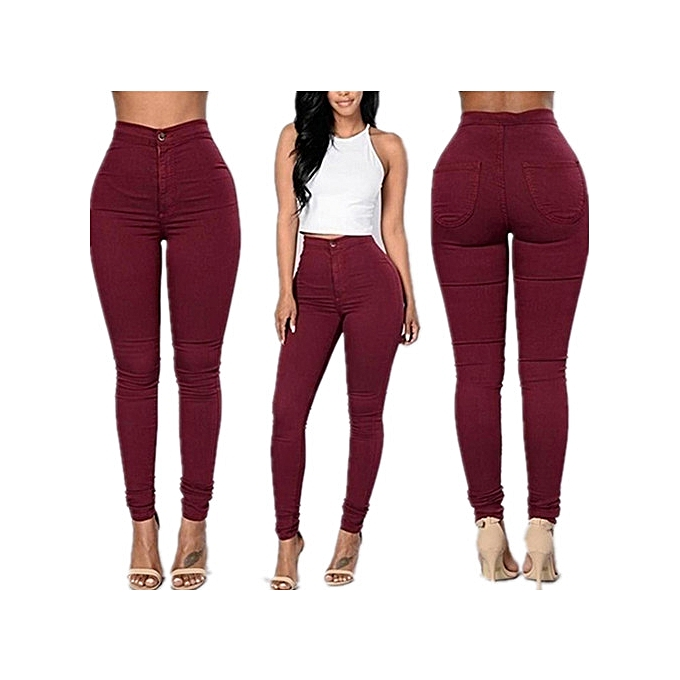 8523421cfd3 Women Pencil Stretch Casual Denim Skinny Jeans Pants High Waist Trousers-Red