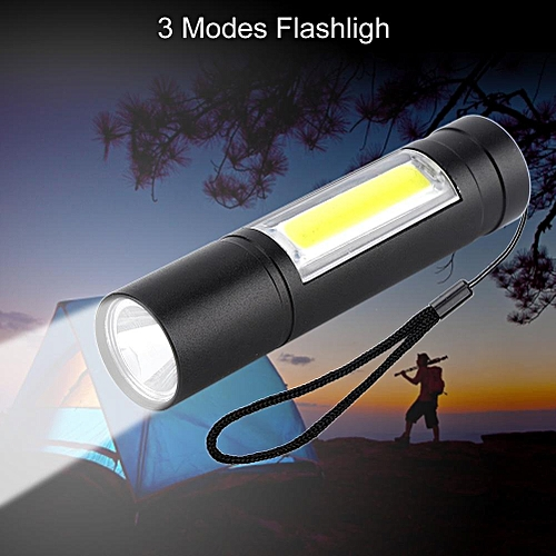 Rechargable Waterproof Zoom XPE + COB LED Pocket Small Penlight 3 Modes Flashlight Projector