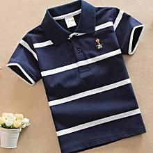 Kid Nation Kids Color Stripe Short Polo Shirt for Boys