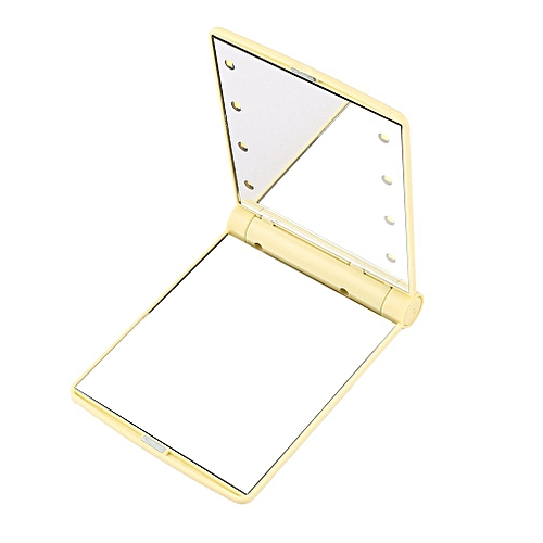 Folding Portable Make Up Mirror Lady Cosmetic Mirror Built-in LED Bulbs Mirror Beige