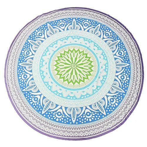 Round Blue Bohemian Mandala Tapestry Beach Hippie Throw Towel Yoga Mat Blanket