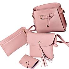 Popular Women Four Set Fashion Handbag Shoulder Bag Four Pieces Tote Bag  Crossbody Wallt 31c21752e2