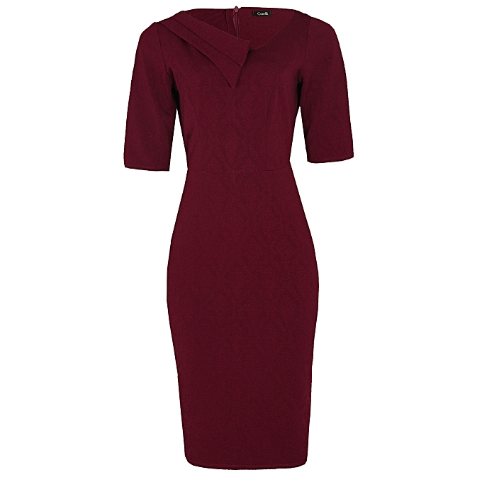 1435ee620de3 Canill Double Collar Detail Corporate Dress - Wine
