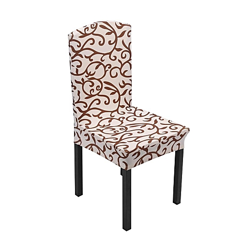 1pcs Removable Stretch Soft Chair Covers Colorful Floral Printing Home Decoration-Champagne / Coffee