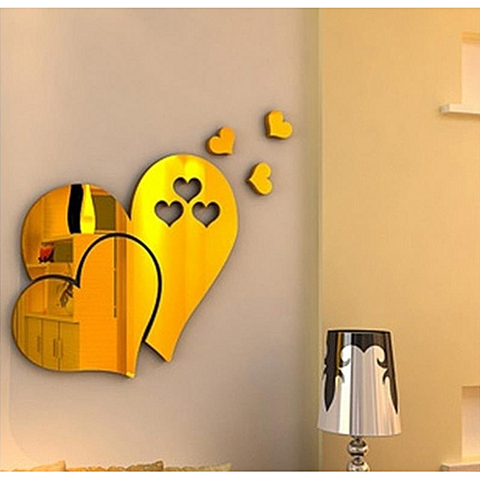 Buy Generic 3D Mirror Love Hearts Wall Sticker Decal DIY Home Room ...