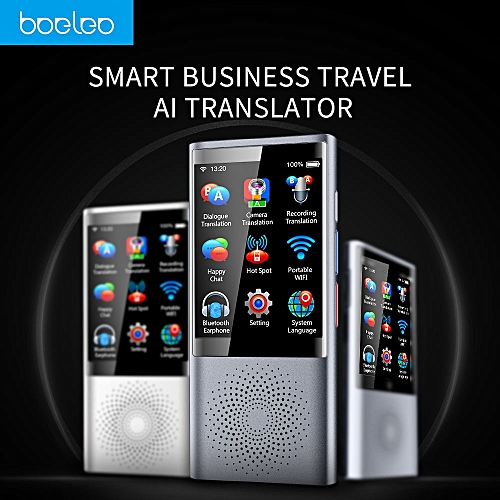 BOELEO W1 Touch Screen Instant Voice Language Translator Device W/1PC Data Line, Switching Line, Card Record, Wristband