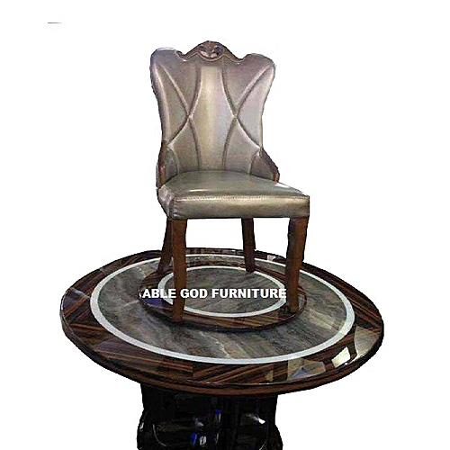 Exquisite Round Marble Dinning With 6 Chairs