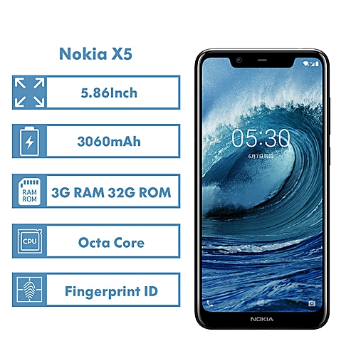 Nokia X5 3G RAM 32G ROM Mobile Phone 5.86'' 3060mAh 3 Camera Fingerprint