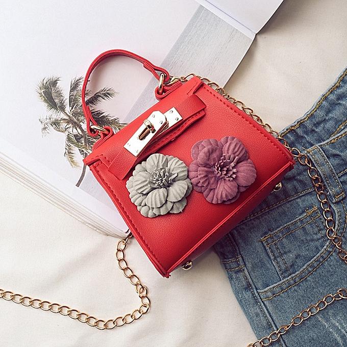 Kids New Korean Style Flower Mini Kelly Bag Handbag Chain Pack Crossbody Bag  For Girl - a6fdfecfd8