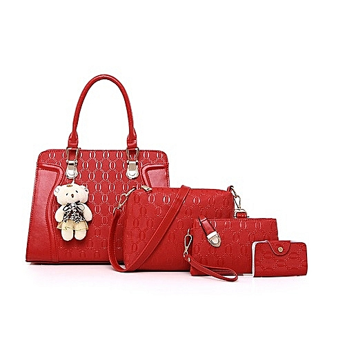 Fashion 4 Set Teddybear Women Handbag - Red