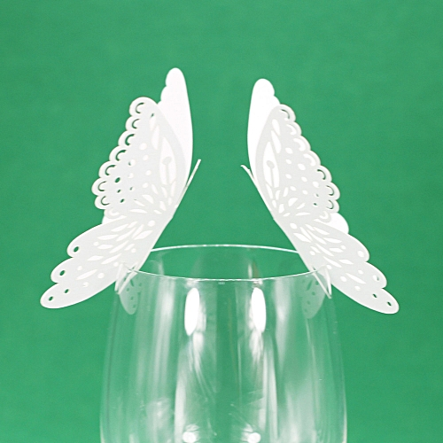 New 50 Pcs Butterfly Wine Glass Paper Card For Wedding Party White