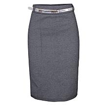 b6897e7a72e Bodycon Midi Skirt With Belt - Grey