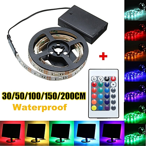 Battery Powered RGB LED Strip Light 30/50/100/150/200CM Decor Lamp Remote Control DC5V DIY Indoor Party Home Hall