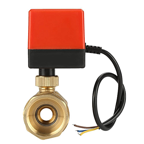 "Shanyu DC 24V 2 Way 3 Wire Brass Motorized Ball Valve Electrical Valve DN32 G1-1/4"""